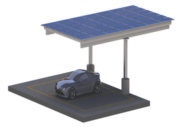 Galvanized Residential Solar Carport Structures , On Off Grid Solar Power Parking Lot