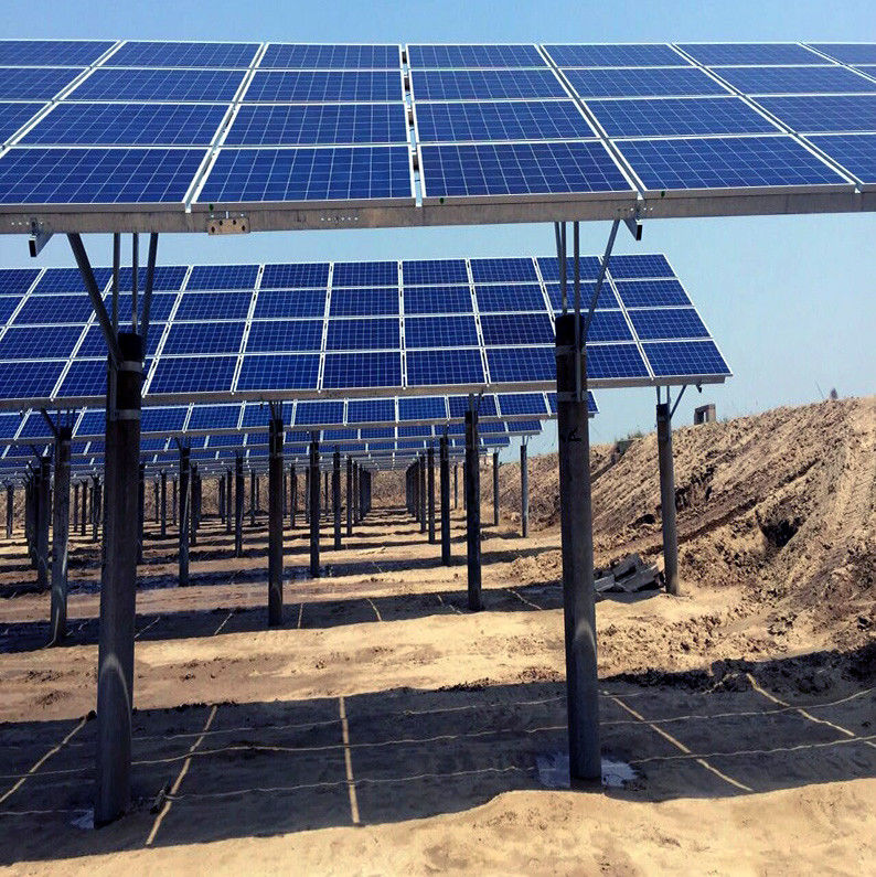 Tidal Flat Type Customized Solar Panel Ground Mounting Systems Hot Dip Galvanizing
